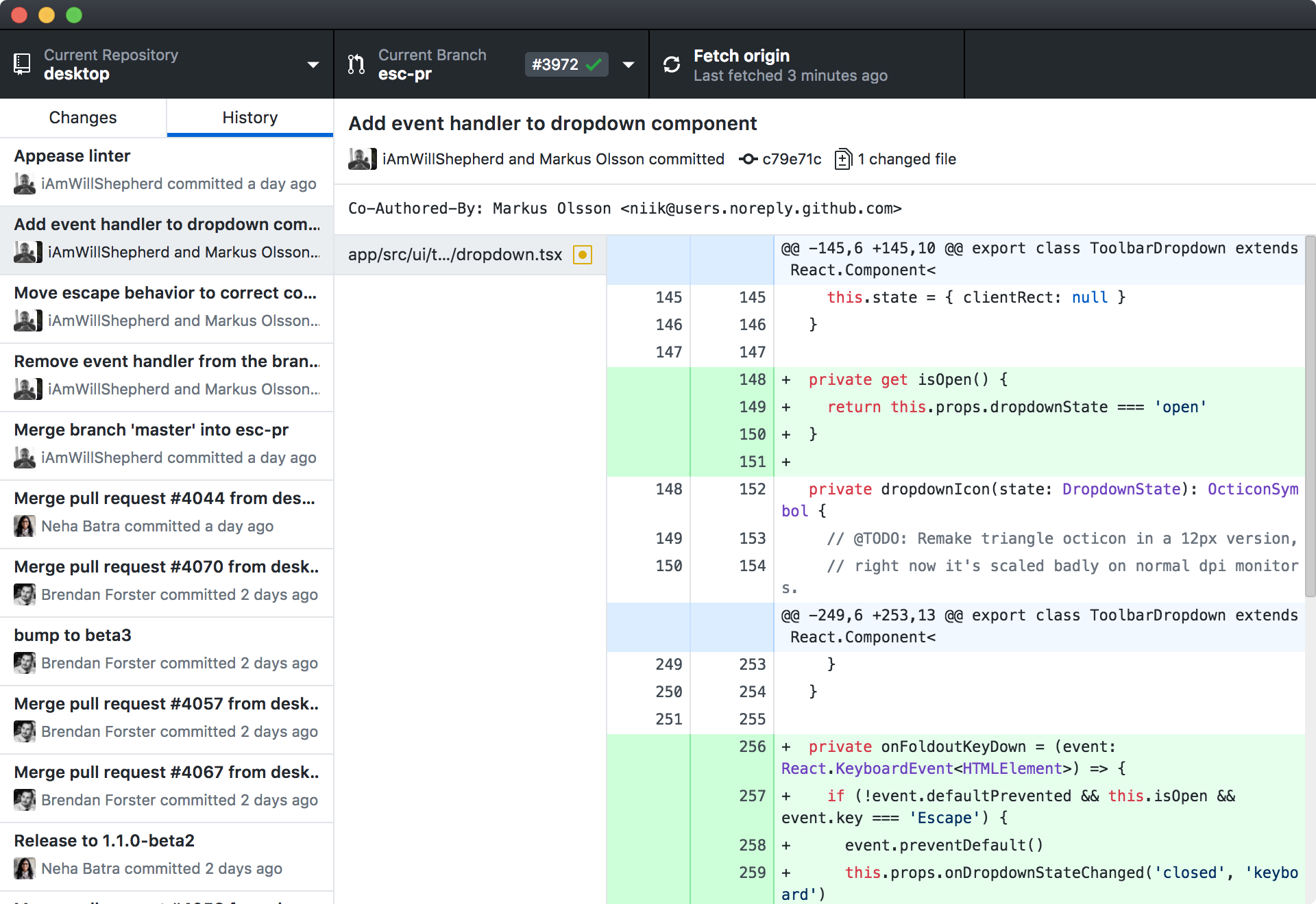 Screenshot of GitHub Desktop running on macOS