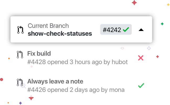 Image of Pull Request List and CI Check Feature